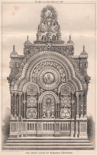 Associate Product The Great Clock of Beauvais Cathedral. Oise 1870 old antique print picture