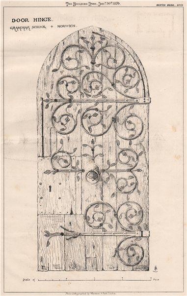 Associate Product Door hinge. Grammar School, Norwich. Norfolk 1870 old antique print picture