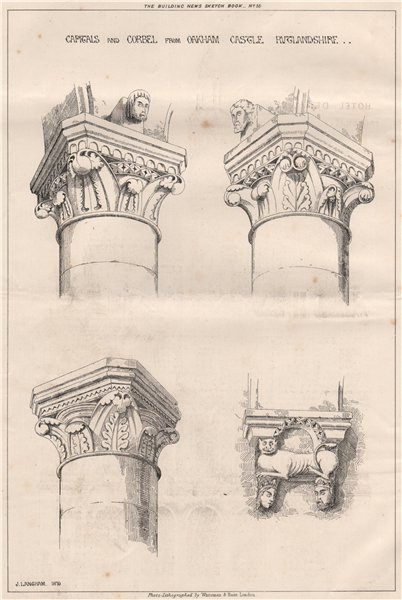 Associate Product Capitals and Corbel from Oakham Castle, Rutlandshire 1871 old antique print