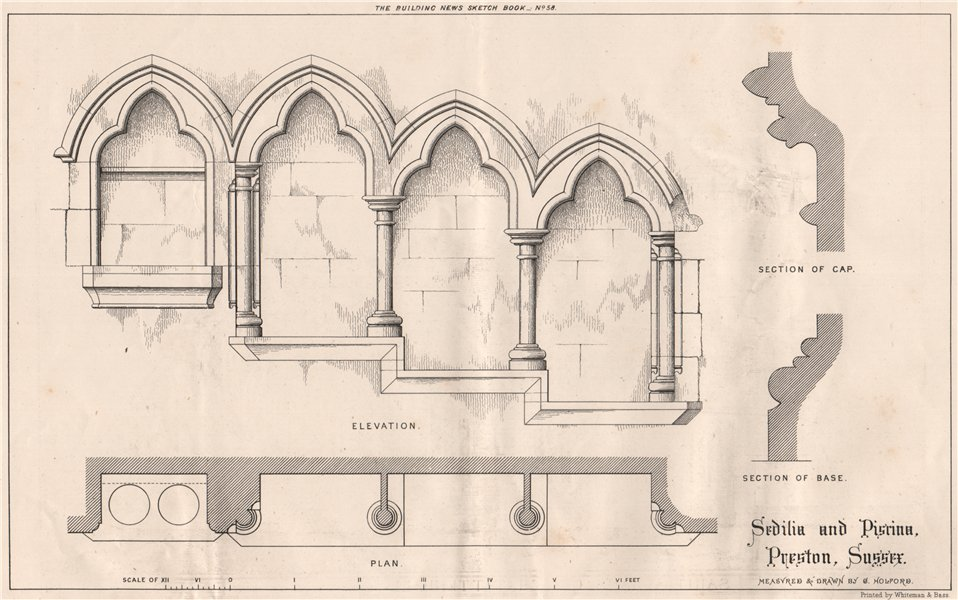 Associate Product Sedilia and Piscina, Preston, Sussex; measured & drawn by G. Holford 1871