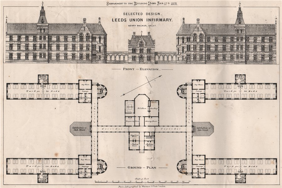Associate Product Selected design, Leeds Union Infirmary; Henry Walker, Architect. Yorkshire 1871