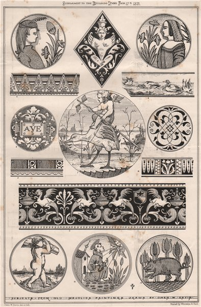 Associate Product Subjects from old Majolica paintings by Owen W. Davis. Decorative 1871 print