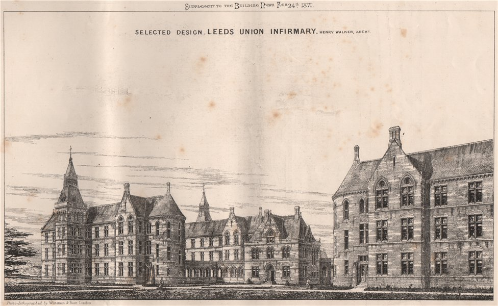 Associate Product Leeds Union Infirmary; Henry Walker, Architect. Yorkshire 1871 old print