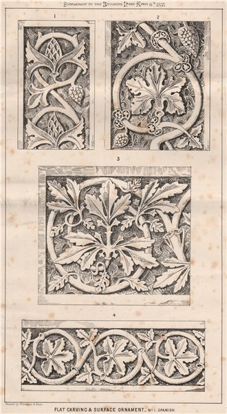 Associate Product Flat carving & surface ornament . Decorative 1871 old antique print picture