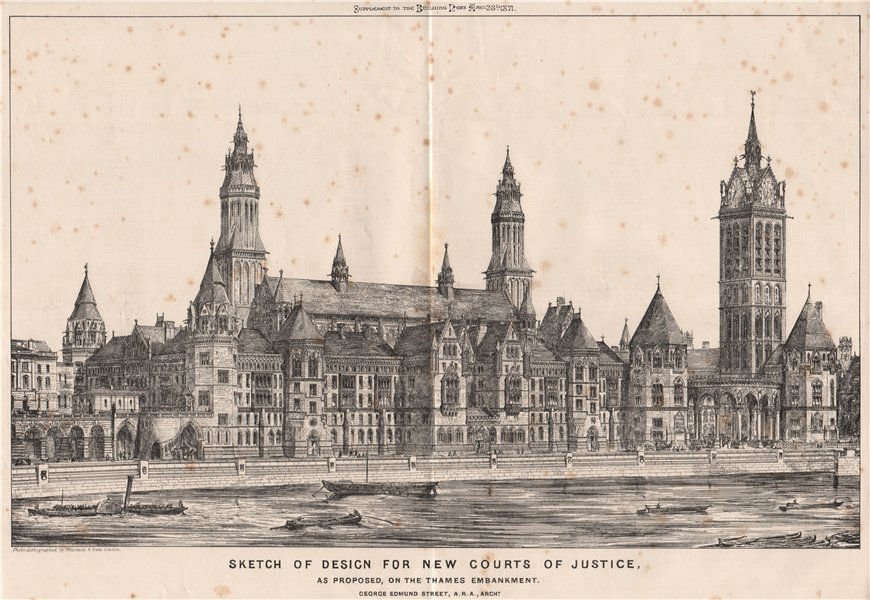 Associate Product New Courts of Justice design, Thames Embankment; George Edmund Street 1871