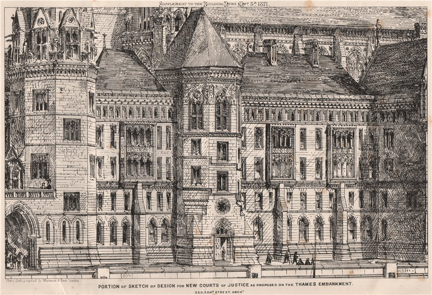 Associate Product Proposed new Courts of Justice, Thames Embankment; George Edmund Street 1871
