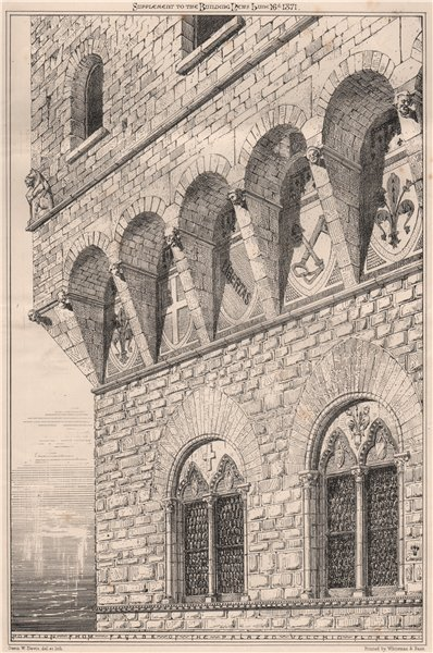 Associate Product Portion from Facade of the Palazzo Vecchio, Florence. Italy 1871 old print