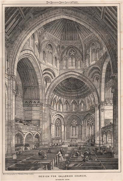 Associate Product Design for galleried church, interior view. Architecture 1871 old print