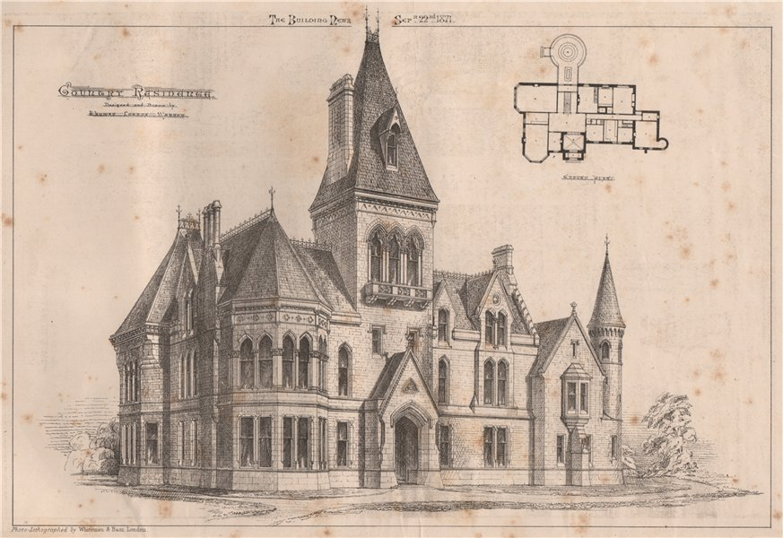 Associate Product Country residence; designed by Thomas Lucas Wassur. Architecture 1871 print