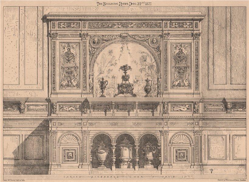 Carved Sideboard. Owen W. Davis invt. Decorative 1871 old antique print