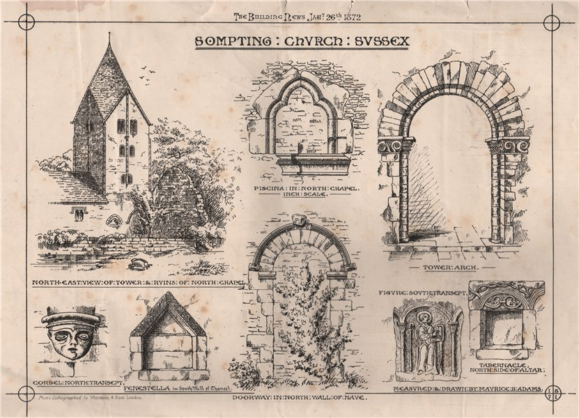 Associate Product Sompting Church, Sussex 1872 old antique vintage print picture