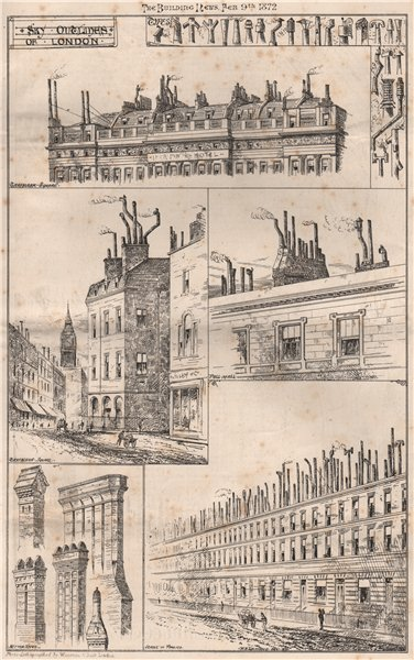 Associate Product Sky outlines of London 1872 old antique vintage print picture
