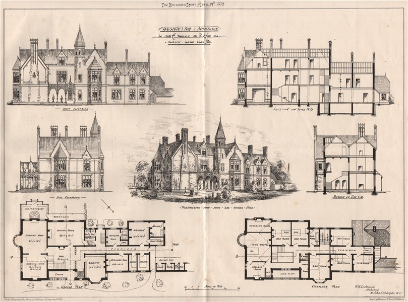 Associate Product Design for mansion; W.H. Lockwood, Architect. Buildings 1872 old antique print