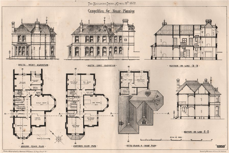 Associate Product Competition for house planning . Architecture 1872 old antique print picture