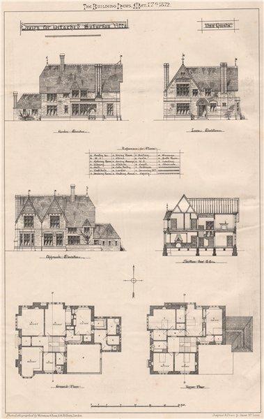 Associate Product Design for detached suburban villa. Architecture 1872 old antique print