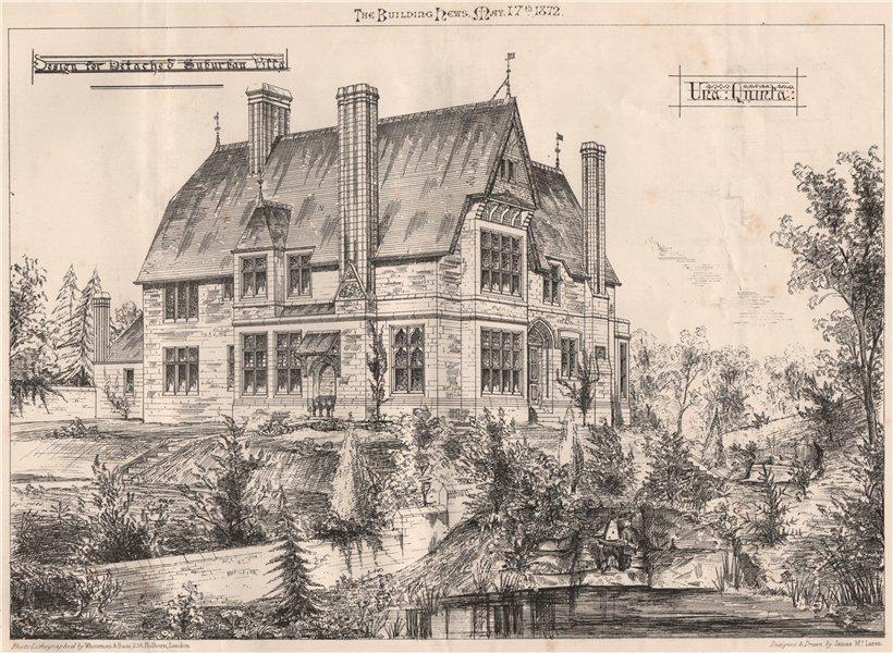 Associate Product Design for detached suburban villa. Architecture (2) 1872 old antique print
