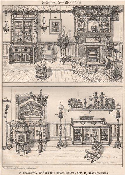Associate Product International Exhibition 1872. Messrs Cox & Sons Exhibits. London 1872 print