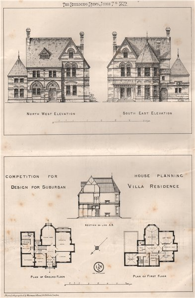 Competition for house planning design for suburban villa residence 1872 print