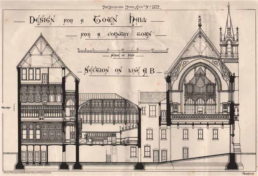 Associate Product Design for a town hall for a country town, section on Line AB 1872 old print