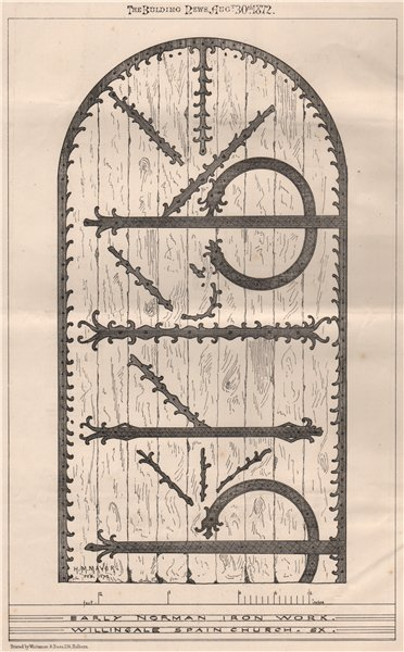 Associate Product Early Norman iron work, Willingale Spain Church, Sx. Essex 1872 old print