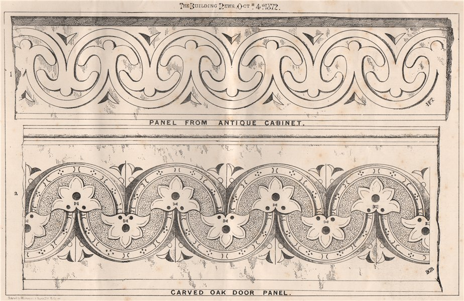 Associate Product Panel from antique cabinet; carved oak door panel. Decorative 1872 old print