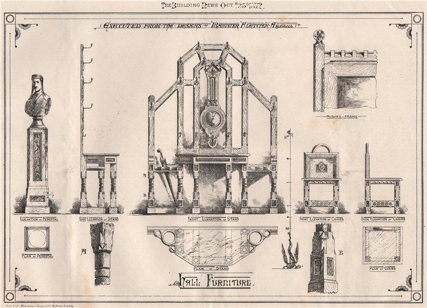 Associate Product Hall furniture, Pedestal, Stand, Chairs, Picture Frame by Banister Fletcher 1872