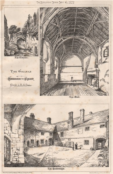Associate Product The College, Cobham Kent; sketched by R.A. Fraser 1872 old antique print