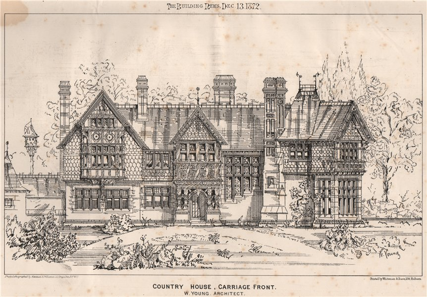 Associate Product Country house, carriage front; W. Young, Architect. Architecture 1872 print