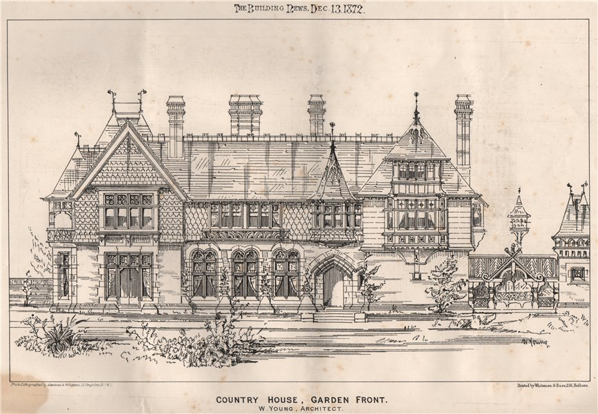 Associate Product Country house, garden front; W. Young, Architect. Architecture 1872 old print