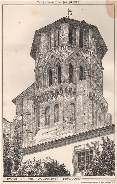 Associate Product Tower of the Augustins, Toulouse. Haute-Garonne 1873 old antique print picture