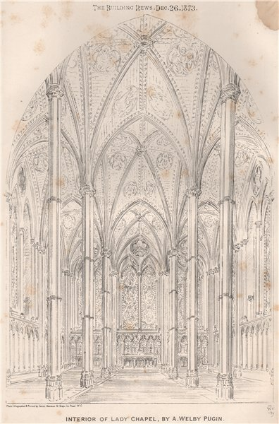 Associate Product Interior of Lady Chapel, by A. Welby Pugin. Liverpool 1873 old antique print