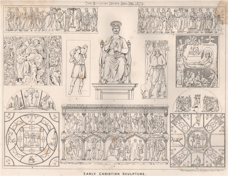 Associate Product Early Christian sculpture. Decorative 1873 old antique vintage print picture