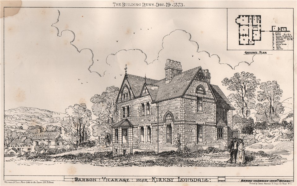 Barbon Vicarage near Kirkby Lonsdale; Brade and Smales Archts . Cumbria 1873
