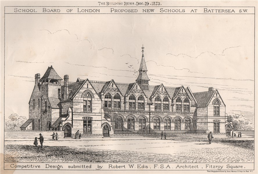 Associate Product Design submitted by Robert W. Edis. Architect, Fitzroy Square 1873 old print