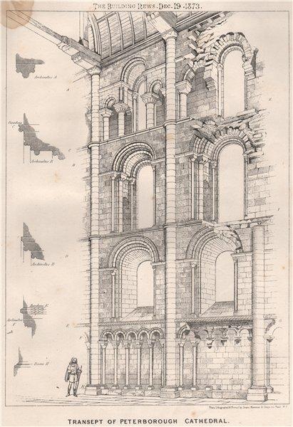 Associate Product Transept of Peterborough Cathedal. Cambridgeshire 1873 old antique print