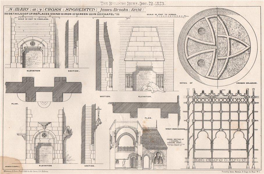 Associate Product St. Mary at ye Cross, Shoreditch; James Brooks, Architect. London 1873 print