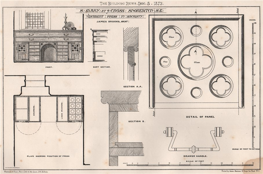 Associate Product St. Mary at ye Cross, Shoreditch. James Brooks Architect 1873 old print