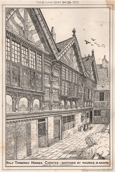 Associate Product Half timbered houses, Chester, by Maurice B. Adams. Cheshire 1873 old print