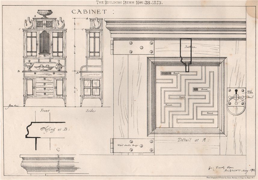 Associate Product Cabinet. Decorative 1873 old antique vintage print picture