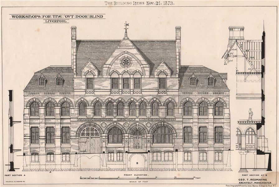 Associate Product Workshops for the out-door blind, Liverpool; Geo. T. Redmayne Architect 1873