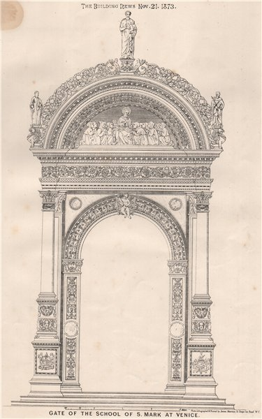 Associate Product Gate of the school of St. Mark at Venice 1873 old antique print picture