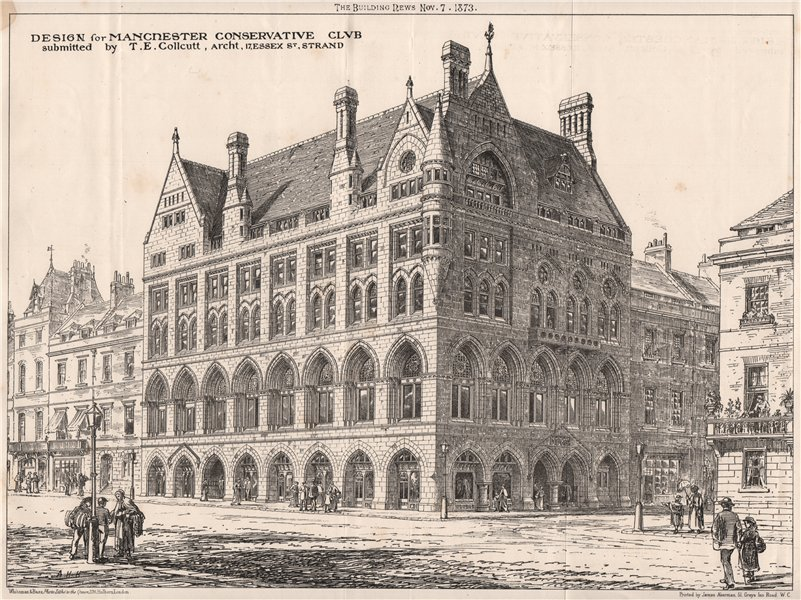 Associate Product Manchester Conservative Club design by T.E. Collcutt, Architect 1873 old print