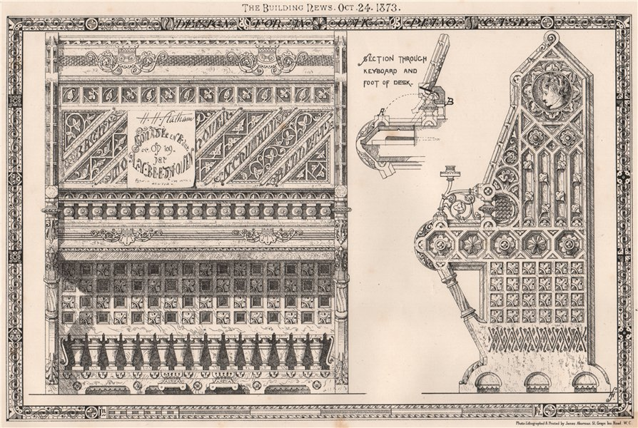 Associate Product Section through keyboard and foot of desk. Design 1873 old antique print
