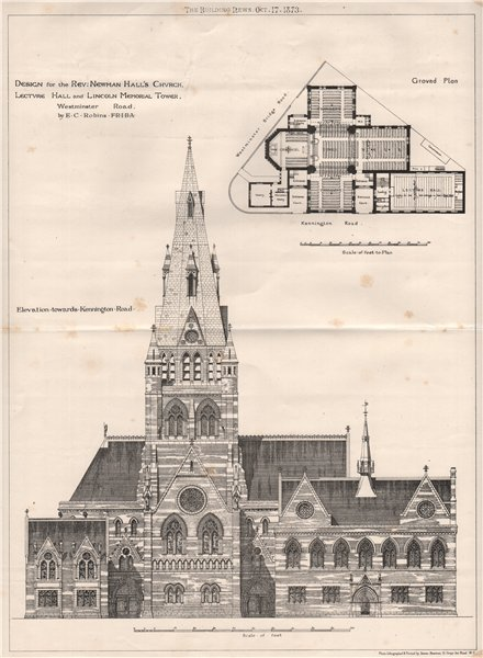 Associate Product Rev. Newman Hall's church & Lincoln Memorial Tower, Westminster Road 1873