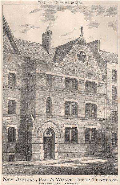 Associate Product New Offices, Paul's Wharf, Upper Thames St.; R.W. Edis, Architect 1873 print