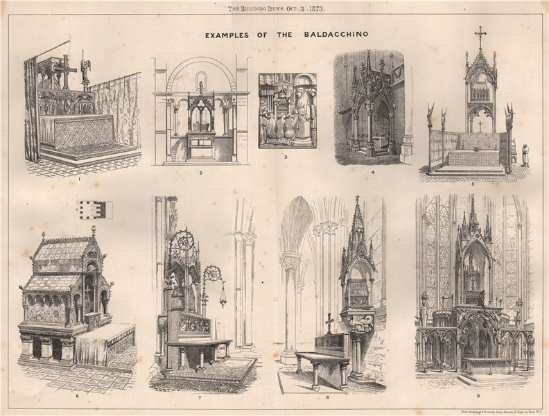 Associate Product Examples of the Baldacchino. Decorative 1873 old antique vintage print picture