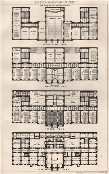 Associate Product The King William Grammar School . Berlin 1873 old antique print picture