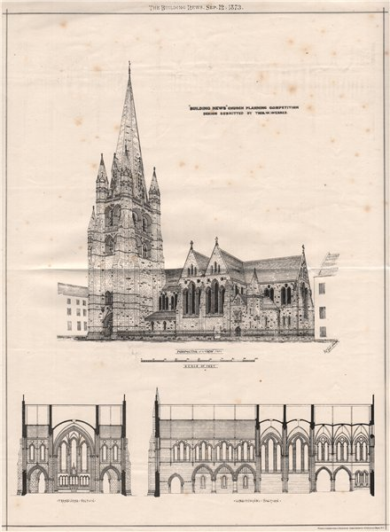 """Associate Product """"Building News"""" Church Planning Competition; Design by Thos. W. Webber 1873"""