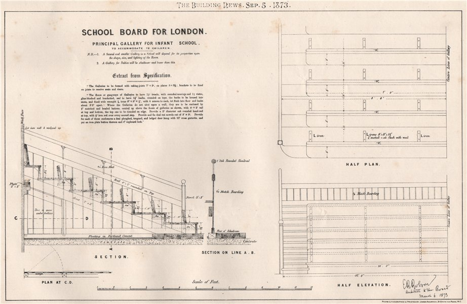 Associate Product School Board for London. Main gallery for infant school 1873 old antique print
