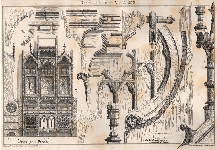 Associate Product Design for a bookcase; Sotchill Edward, Architects 1873 old antique print